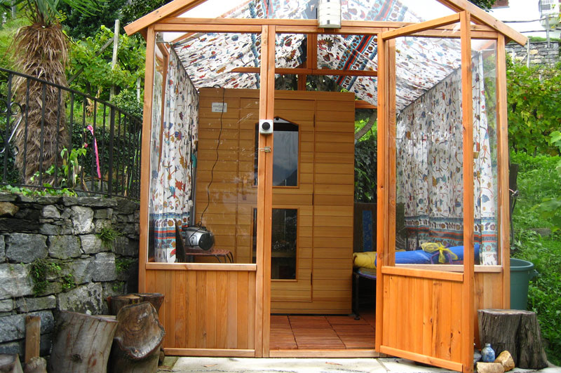 infrared sauna overlooking the verzasca valley casa soleil. Black Bedroom Furniture Sets. Home Design Ideas